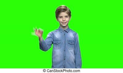 Cute child boy in denim jacket showing okay sign. Green...