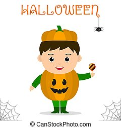 Cute child dressed in costume Halloween pumpkin with candies celebrating at a Halloween party isolated on a white background.