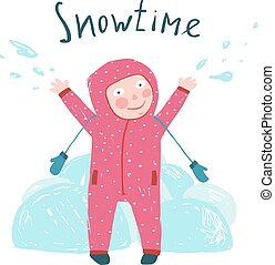 Cute Child Girl in Winter Clothes Playing with Snow Colorful Childish Cartoon