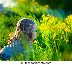 Cute child in field