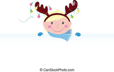 Cute Child in reindeer costume