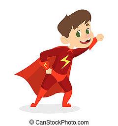 Cute child in the red superhero costume