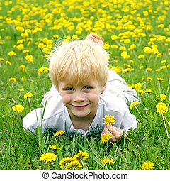 Cute Child Laying in Meadow of Dandelion Flowers