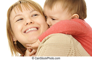 Cute child play with mother