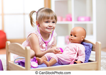 Child Playing Doctor with doll Toy - Cute Child Playing ...