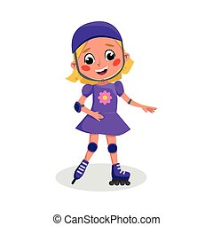 Cute Child Roller Skating, Active Healthy Lifestyle Concept Cartoon Style Vector Illustration