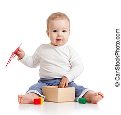 cute child with color educational toy - pretty baby with...