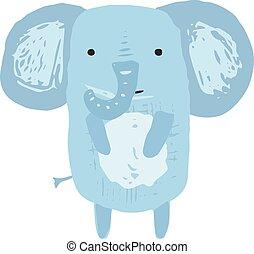 Cute childish blue elephant illustration