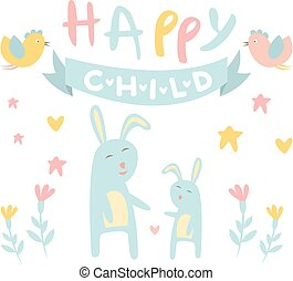 Childish Bunny with Mom Flat Vector Illustration