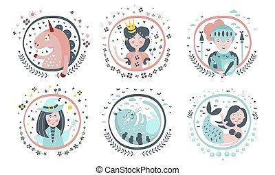 Cute Childish Fairy Tale Cartoon Characters Set, Unicorn, Princess, Knight, Witch, Cat, Mermaid, Decoration Design Elements Vector Illustration