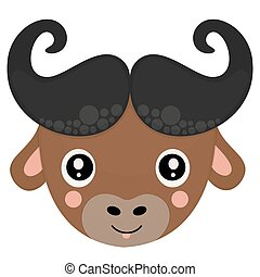 Cute childish head of cartoon African buffalo with protruding tongue and rosy cheeks isolated on white background. A funny muzzle for printing on children's clothing. Vector.