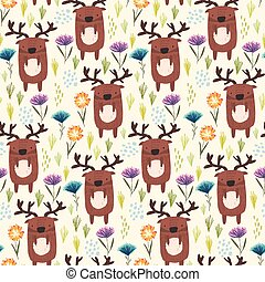 Cute childish pattern with deer, grass and flowers