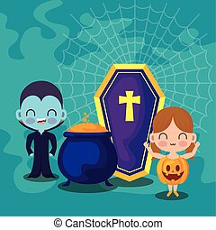 cute children disguised with icons halloween