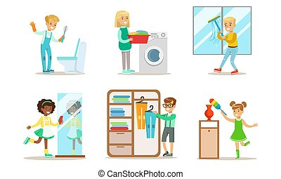Cute Children Doing Housework Set, Boys and Girls Cleaning Windows, Folding Clothes, Loading Laundry to Washing Machine, Kids Helping Parents with Housekeeping Vector Illustration