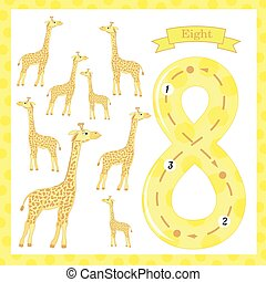 Cute children Flashcard number one tracing with 8 giraffes for kids learning to count and to write. learning the numbers 0-10, Flash Cards, educational preschool activities, worksheets for kids