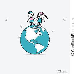 Cute children on globe. Vector illustration.