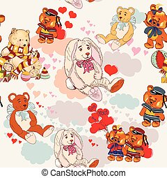 Cute children pattern with pretty animals.eps