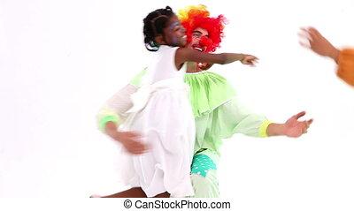 Cute children posing with clown