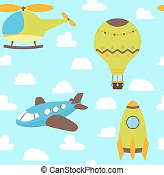 Cute children seamless pattern with plane, helicopter, hot air balloon, spaceship and clouds. Funny background