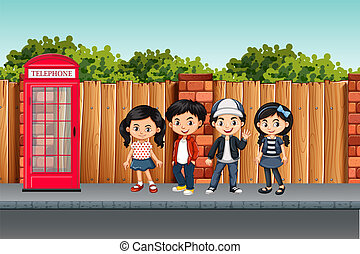 Cute children street scene