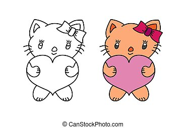 Cute children's cartoon kitten with heart. A set for scrapbooking, embroidery and coloring books.