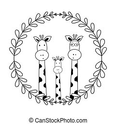 Cute children's doodle illustration, mom and dad giraffes and their baby, isolate on a white background, cute character, funny vector illustration for books, children's parties, t-shirts, cards