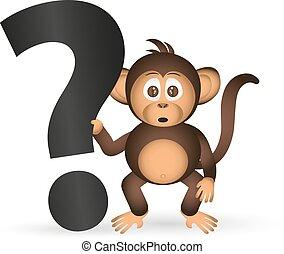 cute, chimpanzé, pequeno, macaco, e, marca pergunta, eps10