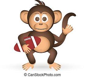 cute chimpanzee with us football ball sport little monkey  eps10