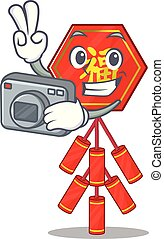 Cute chinese firecracker character the photographer smiley