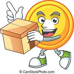Cute chinese gold coin cartoon character having a box