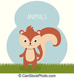 cute chipmunk in field landscape character vector...