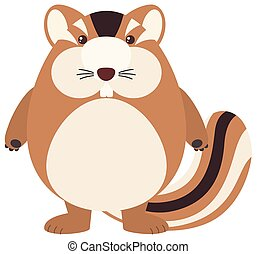 Cute chipmunk on white background illustration