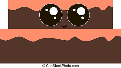 Cute chocolate cake, illustration, vector on white background.