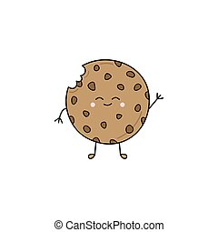 Cute chocolate chip cookie vector illustration