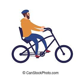 cute, chopper, style., capacete, ciclismo, ciclista, isolado, experiência., hipster, montando, branca, feliz, apartamento, barbudo, coloridos, engraçado, ilustração, bike., caricatura, homem, bicycle., vetorial, elegante, sujeito, macho