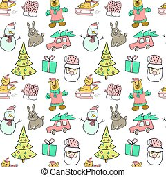 Cute Christmas and New Year seamless pattern. Cat on a sled, christmas tree, rabbit, car, gift, snowman and Santa Claus