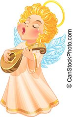Cute Christmas Angel playing lute