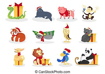Cute christmas animal in santa hat set.