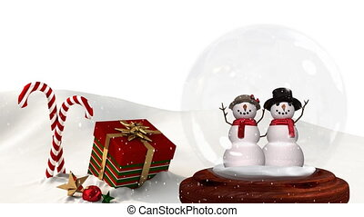 Cute Christmas animation of snowman couple and Christmas gift in snowy landscape 4k