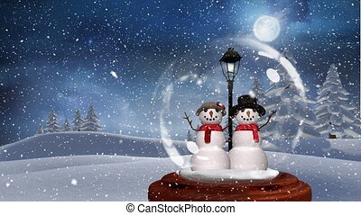 Cute Christmas animation of snowman couple in magical forest 4k