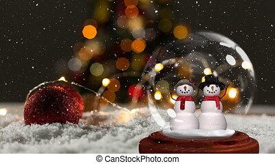 Cute Christmas animation of snowman couple in snow globe 4k