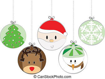 Five cute christmas balls cartoon style