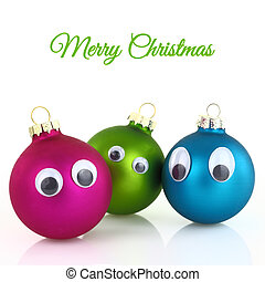 Cute Christmas balls with eyes isolated on white
