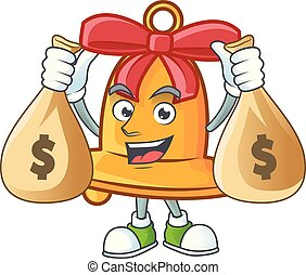 Cute christmas bell cartoon character smiley with money bag