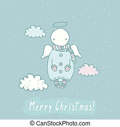 Christmas card with angel in sky