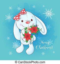 Cute christmas card with cartoon bunny and a bouquet of poinsettia. Vector illustration
