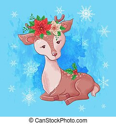 Cute christmas card with cartoon deer and a bouquet of poinsettia. Vector illustration