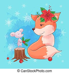 Cute christmas card with cartoon fox with mouse and a bouquet of poinsettia. Vector illustration