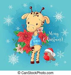 Cute christmas card with cartoon giraffe boy and a bouquet of poinsettia. Vector illustration