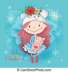 Cute christmas card with cartoon girl with teddy bear and a bouquet of poinsettia. Vector illustration